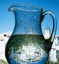 Biot glass jug with typical bubbles