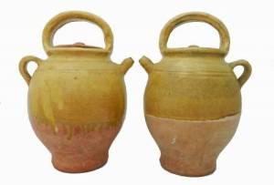 Old Provençal pottery wine jugs