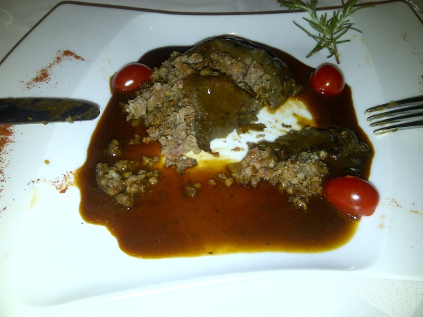 Aubergine stuffed with lamb - delicious