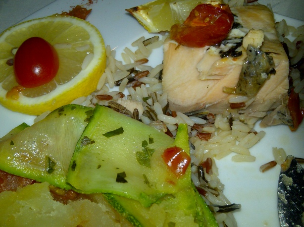 Salmon with wild rice
