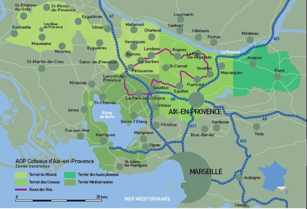 Map of the regions of Coteaux d'Aix-en-Provence