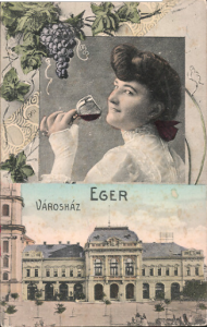 Old postcard with the red wine of Eger