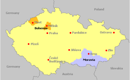 Map of the wine regions of the Czech Republic