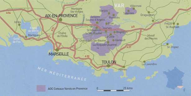 The AOC Coteaux Varois en Provence region