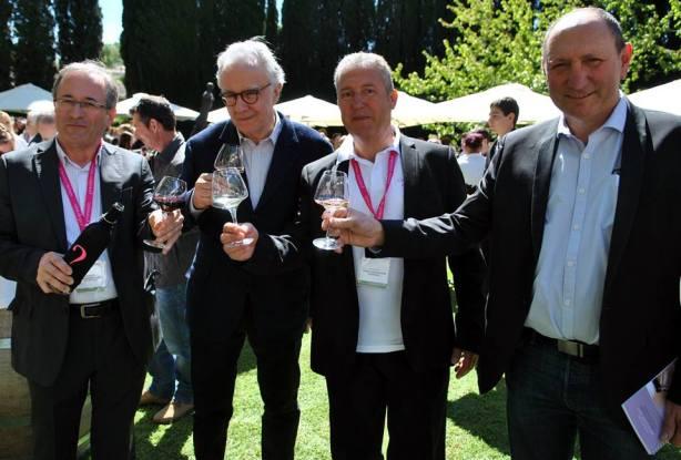 left to right: Philippe Bréban, director of the Syndicat des Vins Coteaux Varois en Provence; Alain Ducasse; Pascal Cortez, president of the Syndicat des Vins Coteaux Varois en Provence; Alain Baccino, président du Conseil Interprofessionnel des Vins de Provence