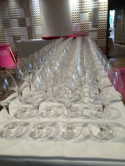 Rows of clean tasting glasses - before the tasting