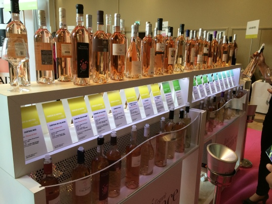 The rosé tasting table