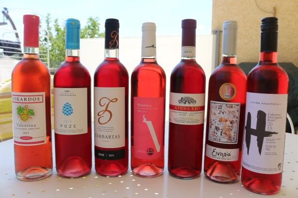 Line up of gorgeous rose pink Cypriot rosés