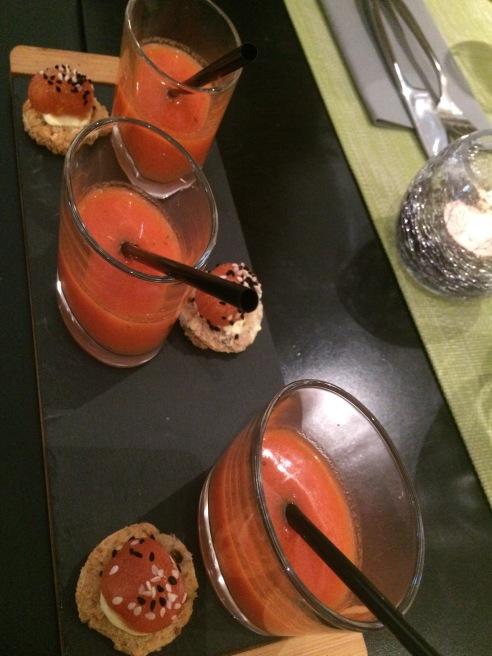 Amuse bouche - watermelon gazpacho