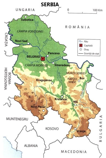 Relief map of Serbia