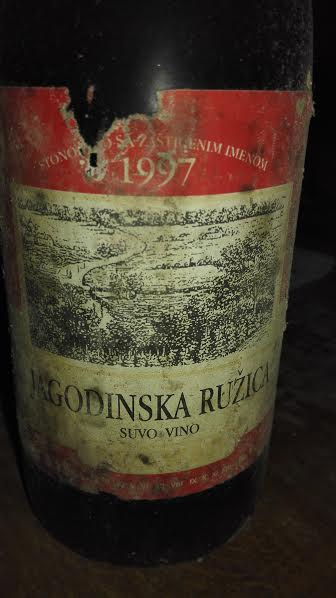 An old bottle of Jagodinska Ružica wine