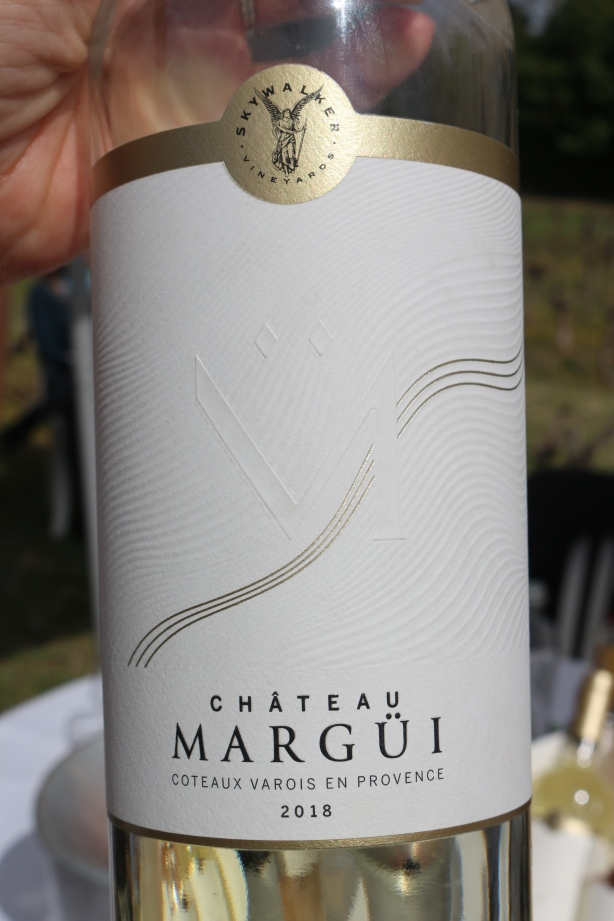 The new label for Chateau Margui, with delicate pattern portraying the hills.